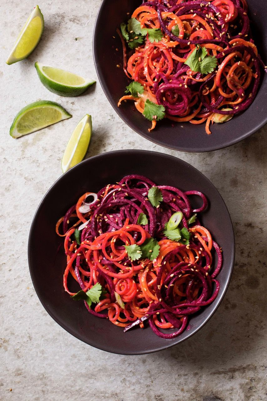 Raw Beet and Carrot Noodle Salad with Almond Sesame Dressing