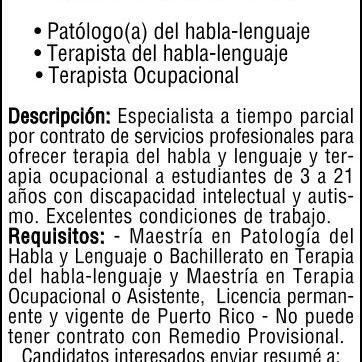 EMPLEOS PROFESIONALES / TERAPISTAS