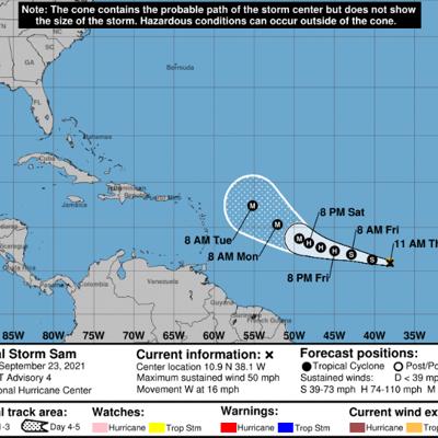 Se forma la tormenta Sam en el Atlántico