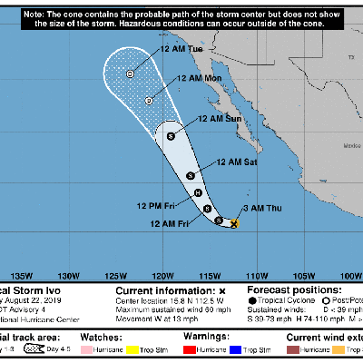Tormenta Ivo gana fuerza en el Pacífico frente a México