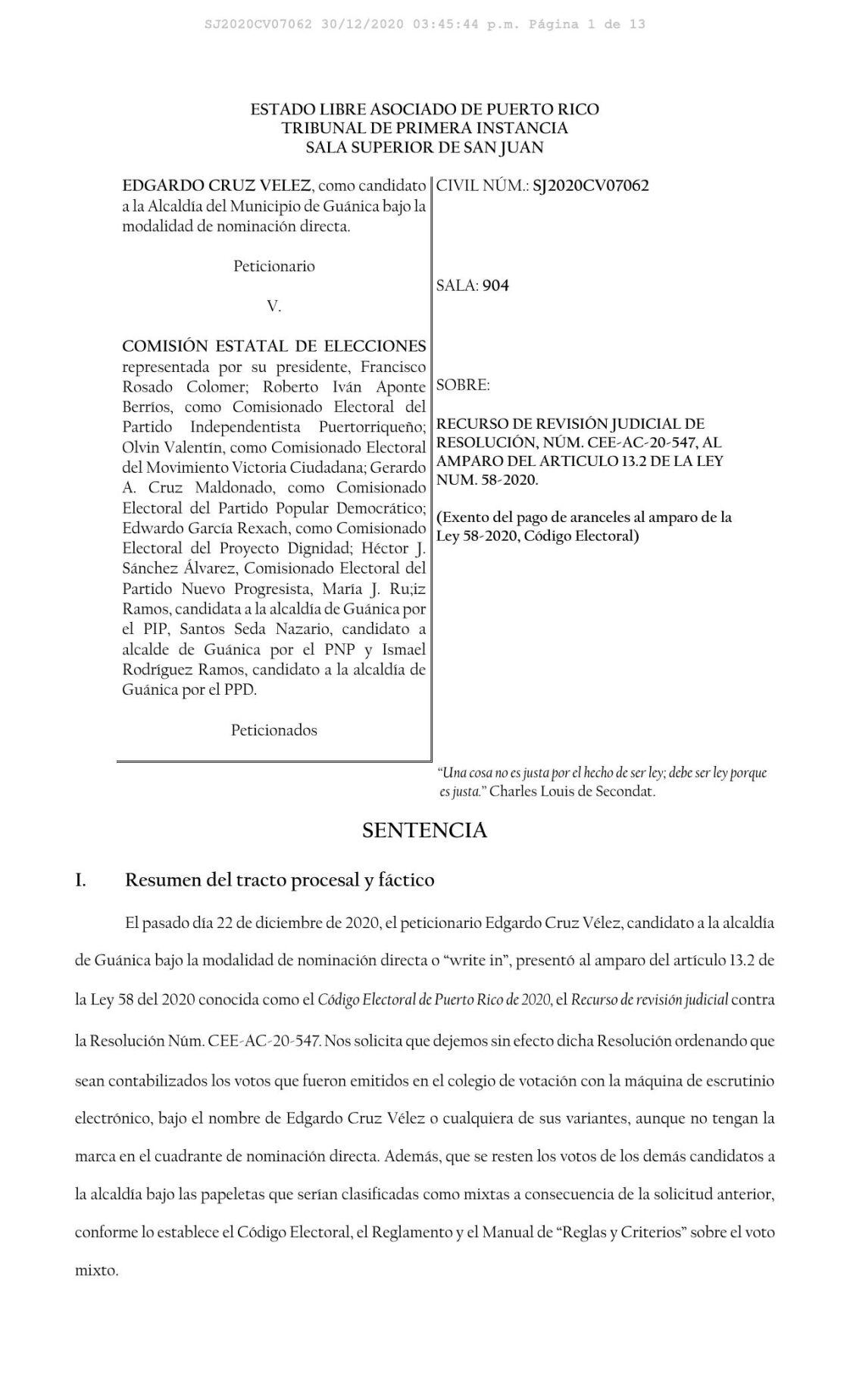 Sentencia caso candidato alcalde Guánica
