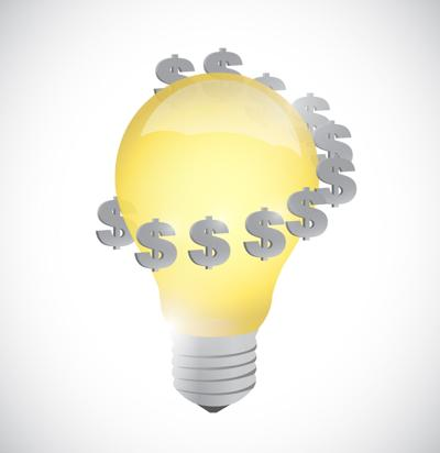 Light bulb monetary idea symbol illustration