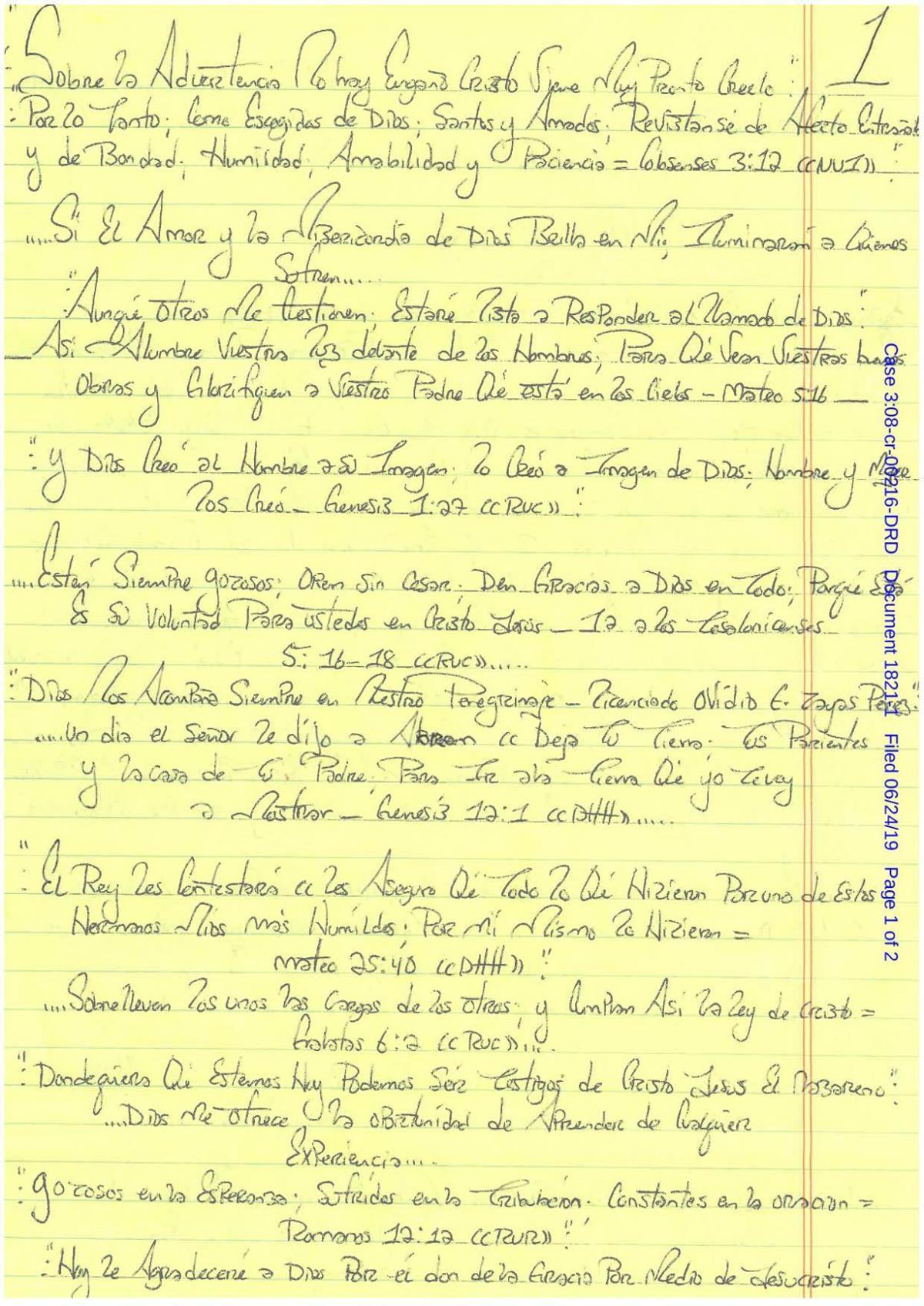 """Carta de Alex """"El Loco"""" Pabón Colón"""