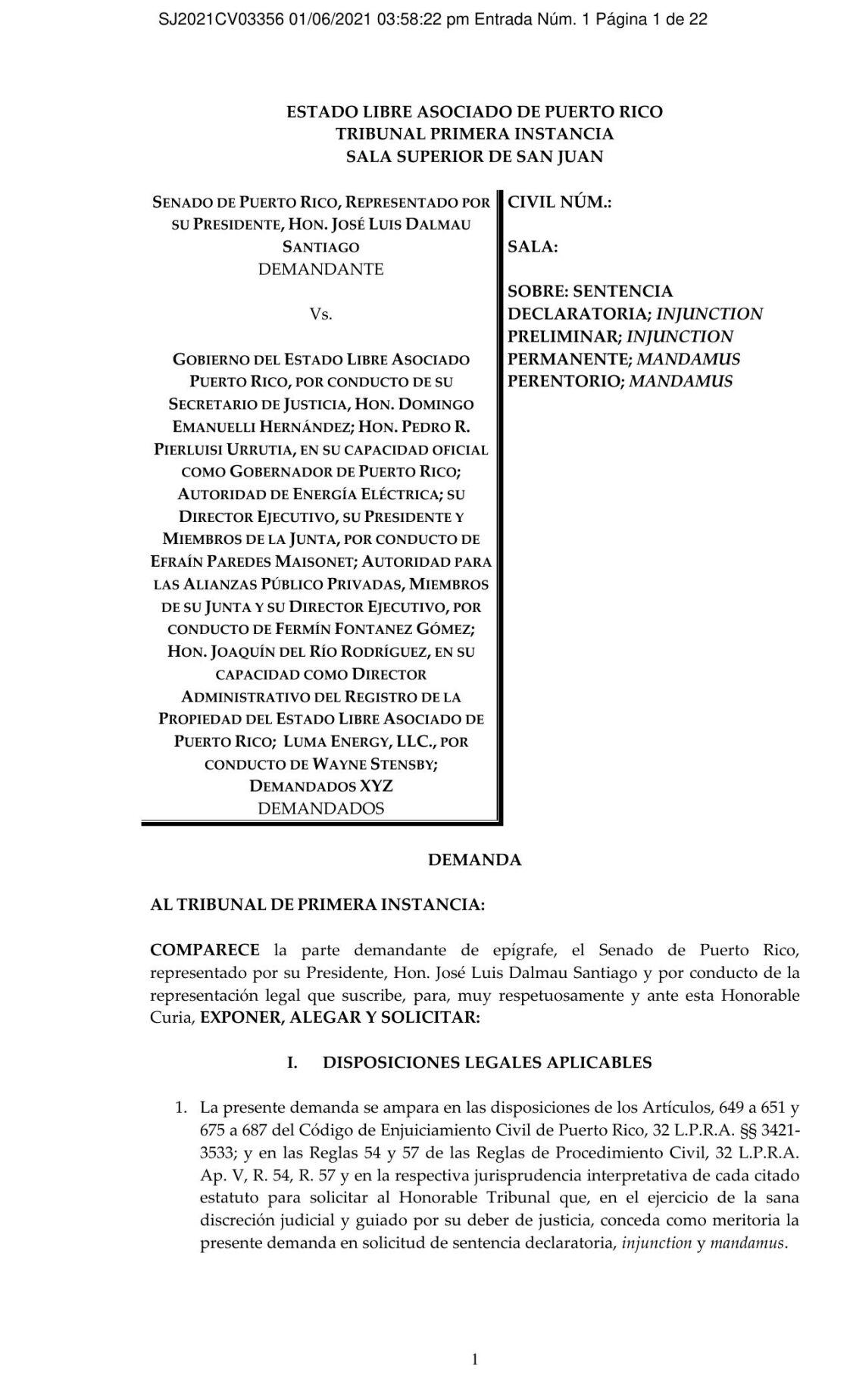Demanda José Luis Dalmau sobre contrato de LUMA energy