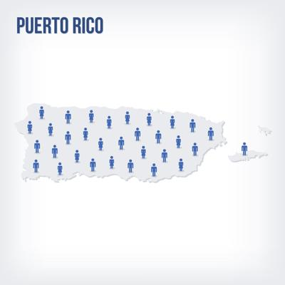 Vector people map of Puerto Rico . The concept of population.