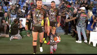 Quaden Bayles salió a cancha con un equipo de rugby