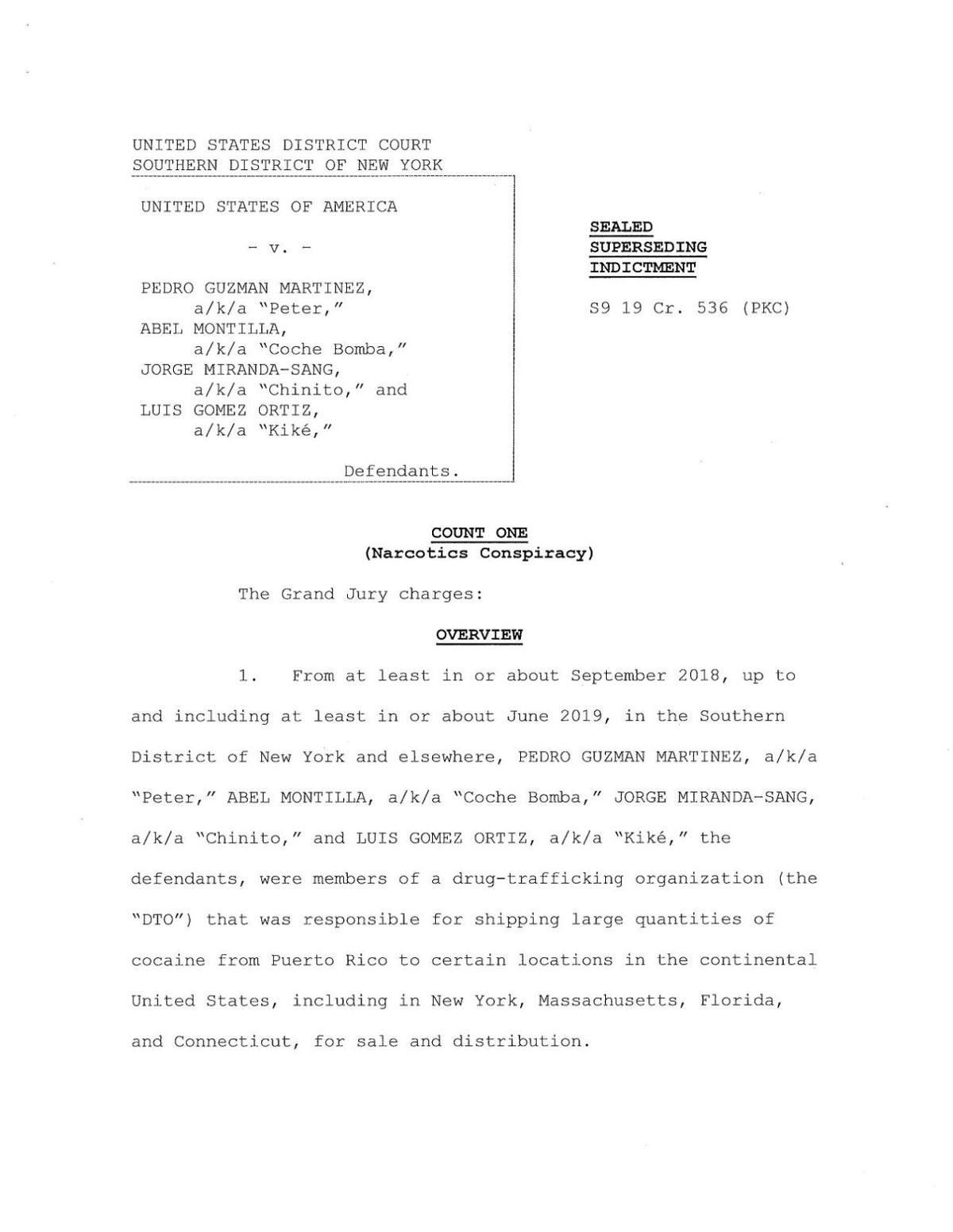 La acusación presentada contra los cuatro hombres