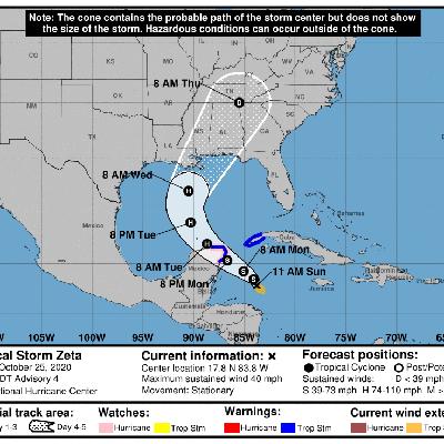 La tormenta Zeta se forma cerca de Cuba y el caribe mexicano