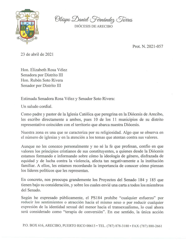 Carta de obispo de Arecibo