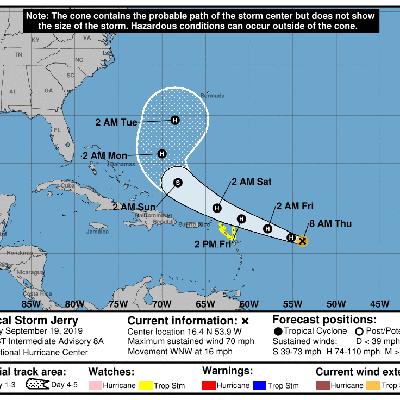 Tormenta tropical Jerry continúa con vientos de 70 mph