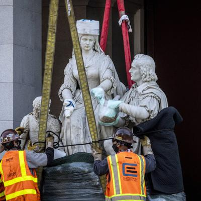 Retiran una estatua de Colón del Capitolio de California
