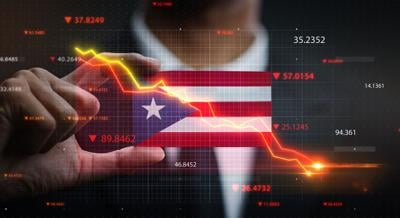 Graph Falling Down in Front Of Puerto Rico Flag. Crisis Concept