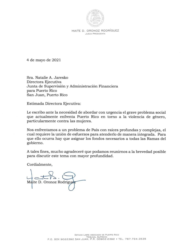 Carta a Natalie Jaresko