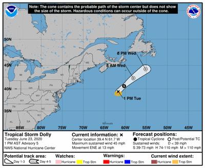 Tormenta tropical Dolly se forma en el norte del Atlántico