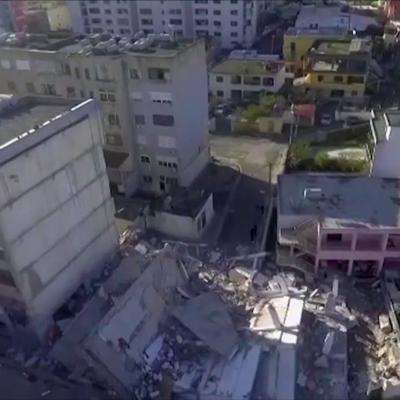 Drone footage of earthquake damage in Durres, Albania
