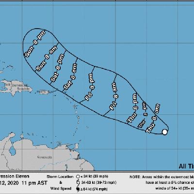 Depresión tropical 11 se mantiene con 35 millas por hora