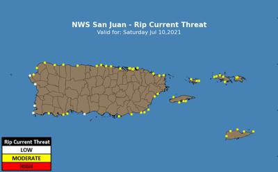 El Servicio Nacional de Meteorología advierte sobre riesgo moderado de corrientes marinas