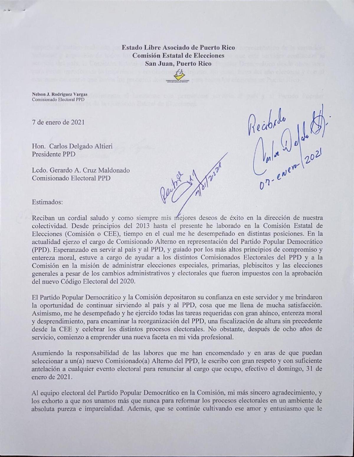 Carta de renuncia (PPD)