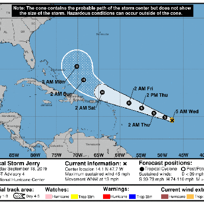 Se forma la tormenta tropical Jerry