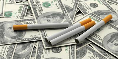Smoking cost concept. Cigarettes in hundred dollar banknotes background. 3d illustration