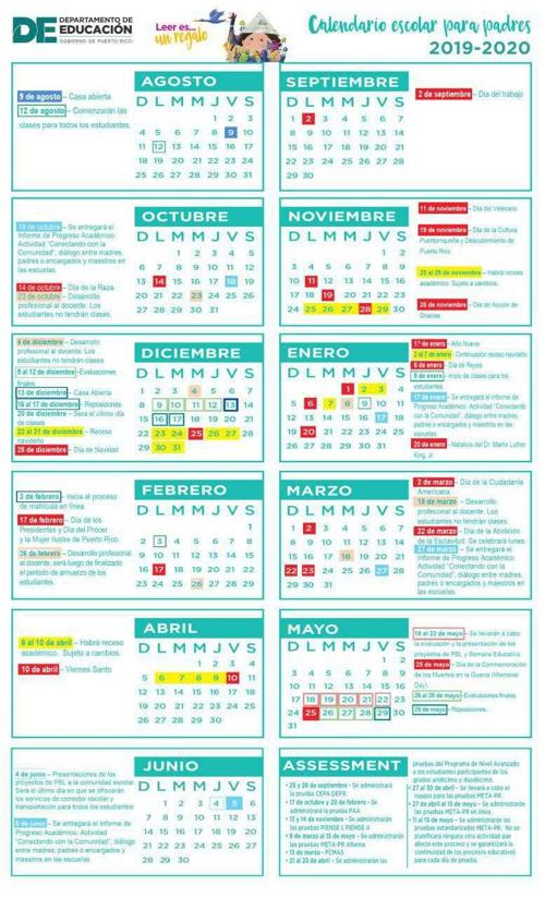 Calendario De Vacunacion 2020.Calendario Escolar Para Padres 2019 2020 Jpg Elvocero Com