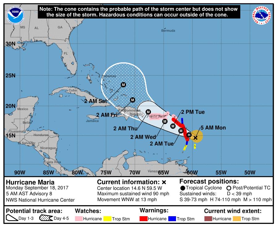 Huracán María de categoría 2 se fortalece en Caribe