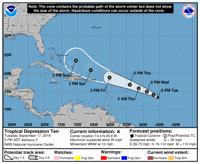 Casi fuera del cono de incertidumbre de depresión tropical Puerto Rico