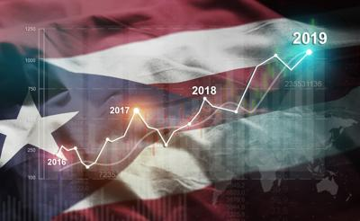 Growing Statistic Financial 2019 Against Puerto Rico Flag