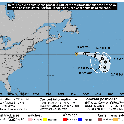 Tormenta tropical Chantal se aleja de Norteamérica
