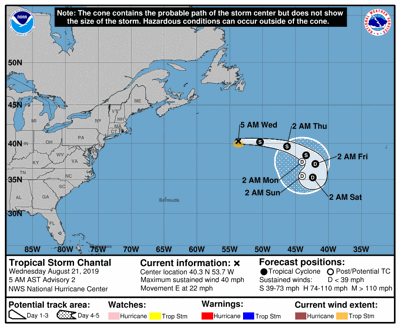 Tormenta tropical Chantal se aleja de Norteamérica