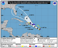 Dorian pasará más cerca al sur de Puerto Rico