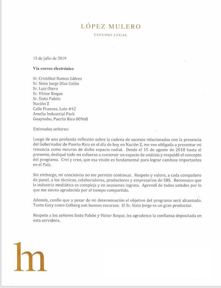 Mayra López Mulero renuncia a Nación Z