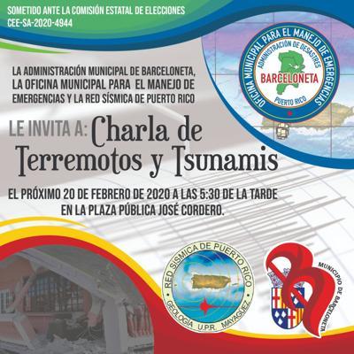 Invitan a participar de charla sobre terremotos en Barceloneta