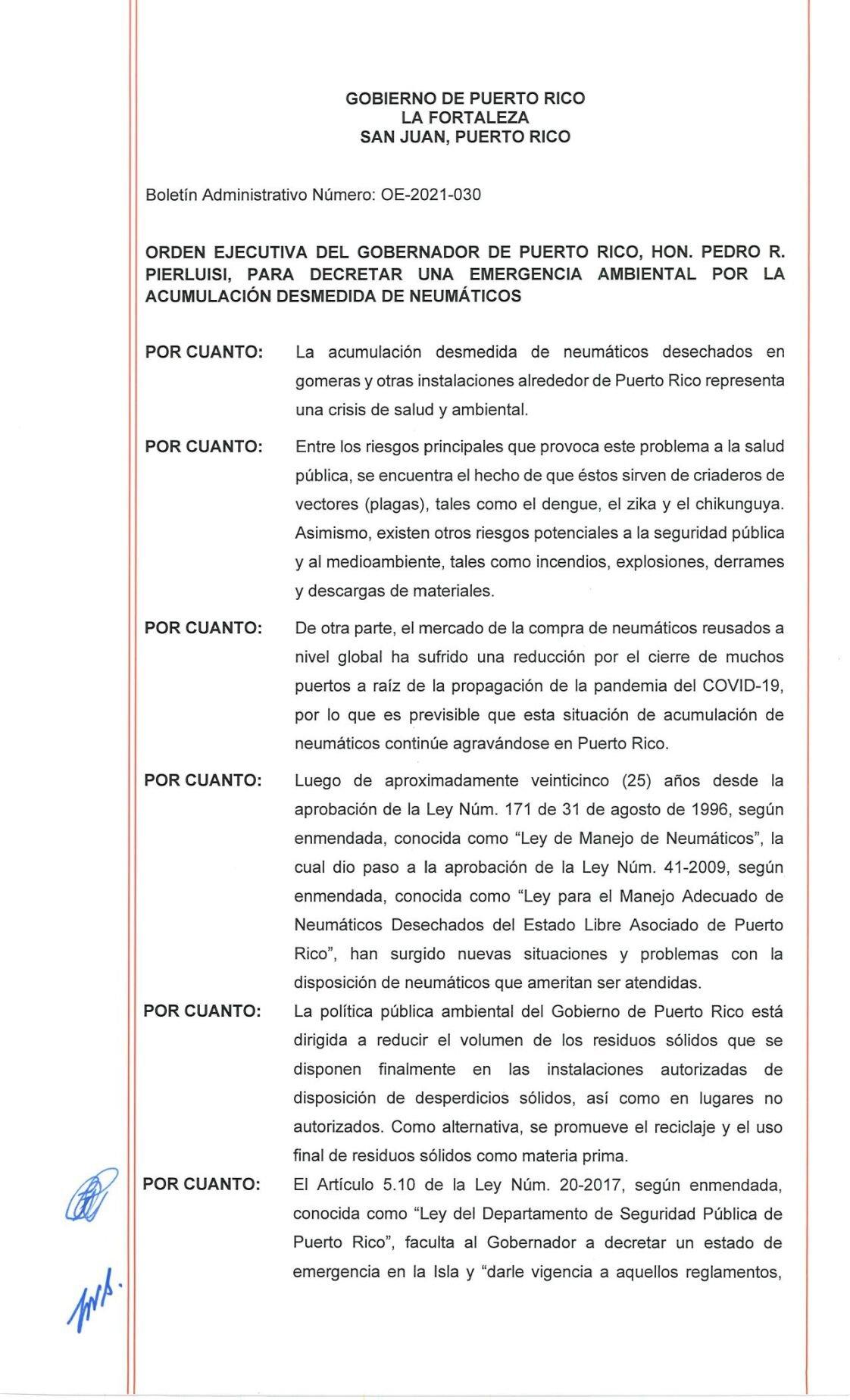 Orden Ejecutiva 2021-030