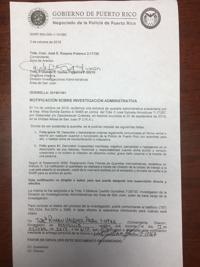 Carta Policía FURA