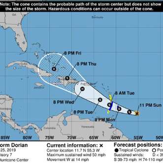 Dorian continúa su trayectoria como tormenta tropical