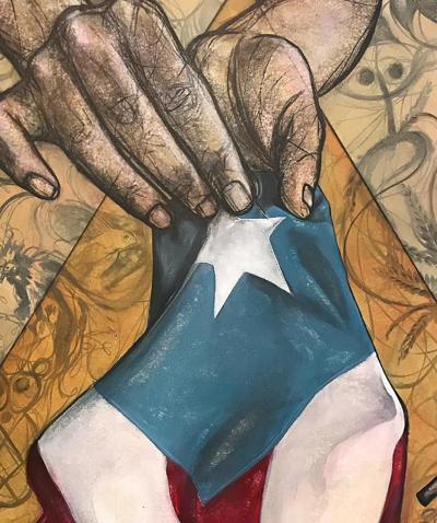 Éktor Rivera dedica pintura a la isla durante Paro nacional