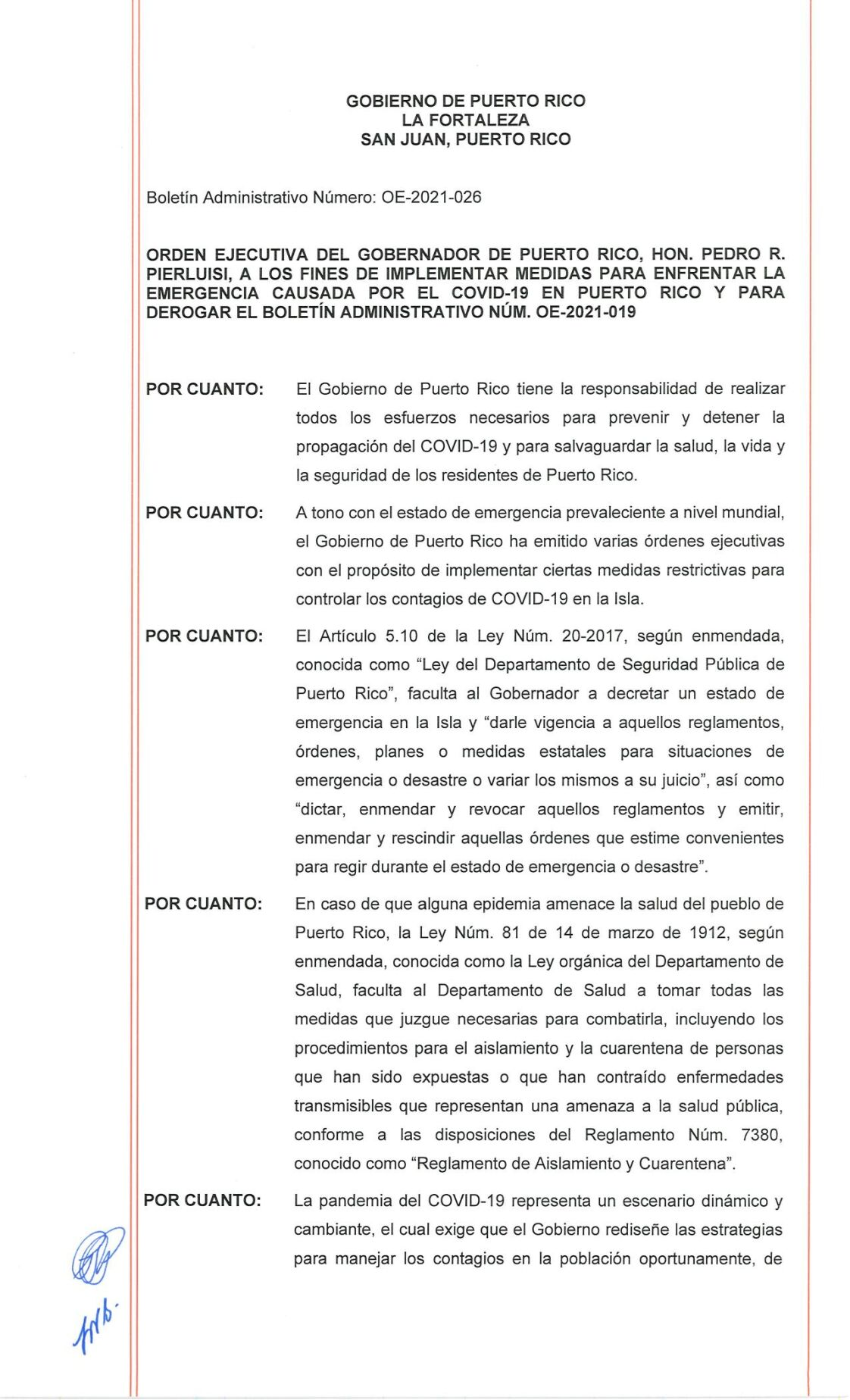 Nueva orden ejecutiva contra el covid-19