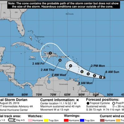 Tormenta tropical Dorian continúa al oeste