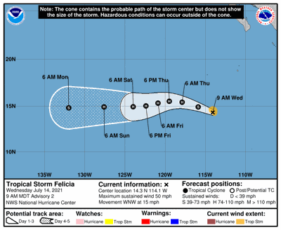 Se forma la tormenta tropical Felicia en el Pacífico