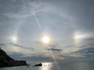 Captan desde Puerto Rico un curioso efecto óptico que muestra el Sol tres veces
