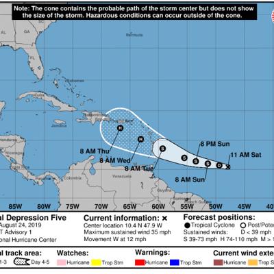 Se desarrolla la depresión tropical número cinco en el Atlántico
