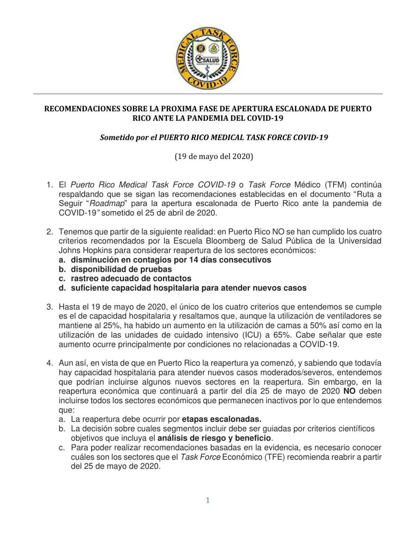 Informe Task Force Médico