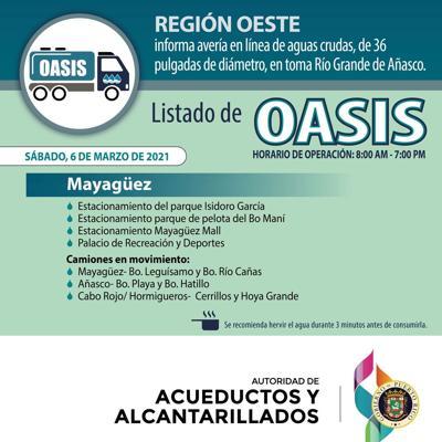 AAA informa sobre carros oasis ante interrupción de servicio en varios municipios