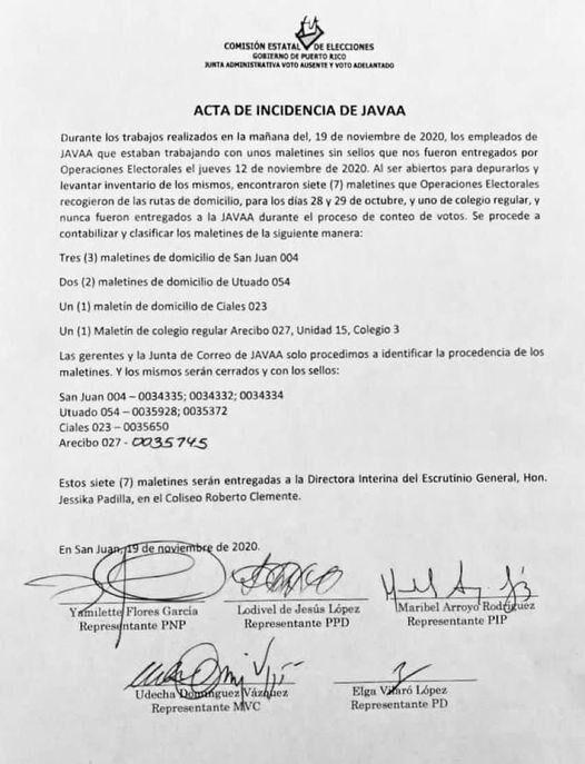 Acta de incidencias JAVAA