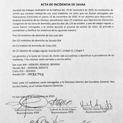 Acta de incidencias JAVAA