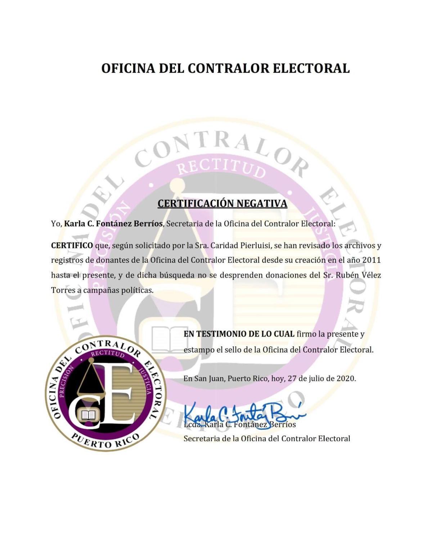 Cerificación negativa - Contralor electoral