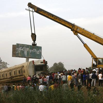 Se descarrila tren en Egipto