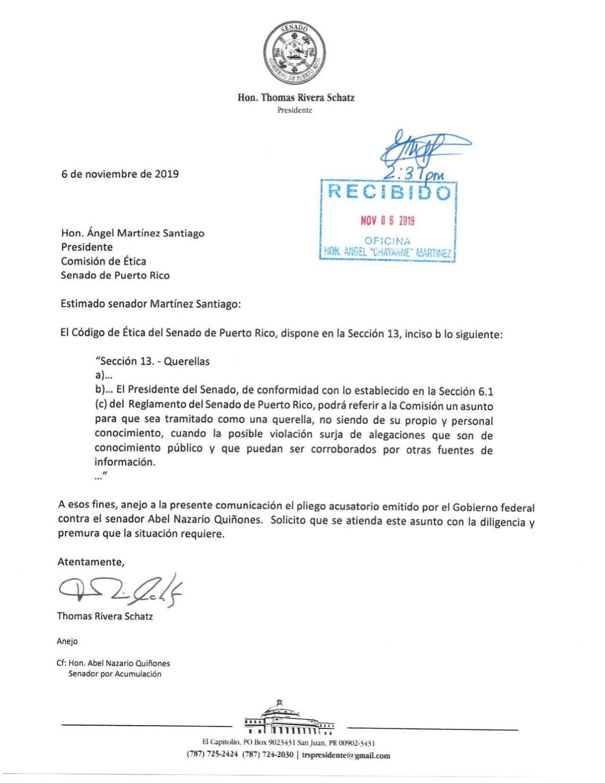 Carta sobre referido a Comisión de Ética