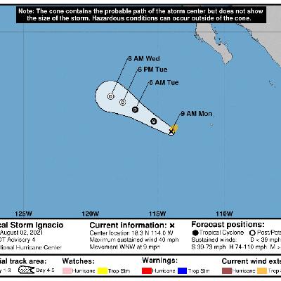 Se forma la tormenta tropical Ignacio en el Pacífico